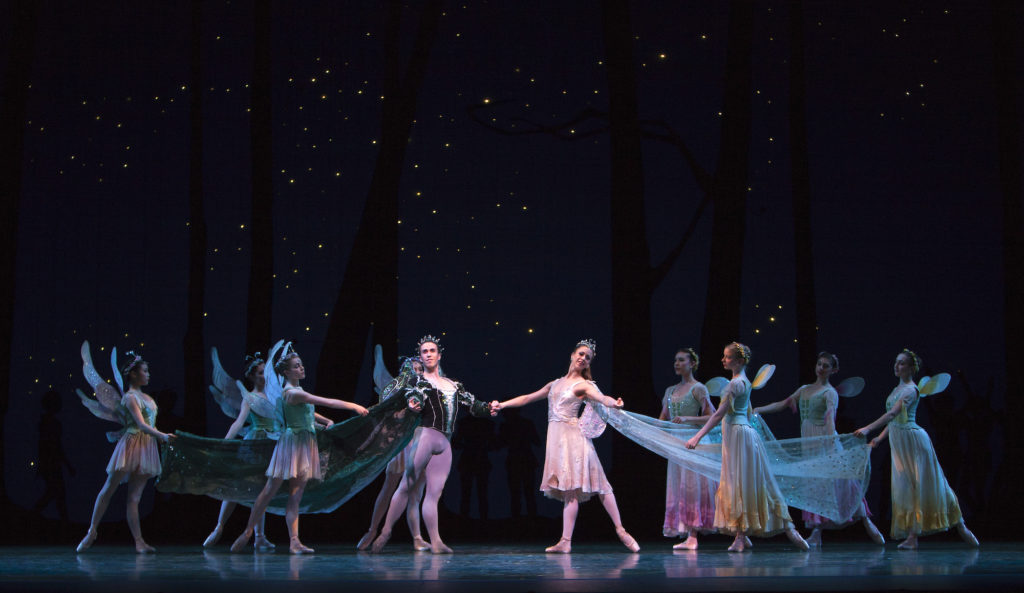 acific Northwest Ballet's Lesley Rausch and Benjamin Griffiths with company dancers in Balanchine's A Midsummer Night's Dream. (© Angela Sterling)