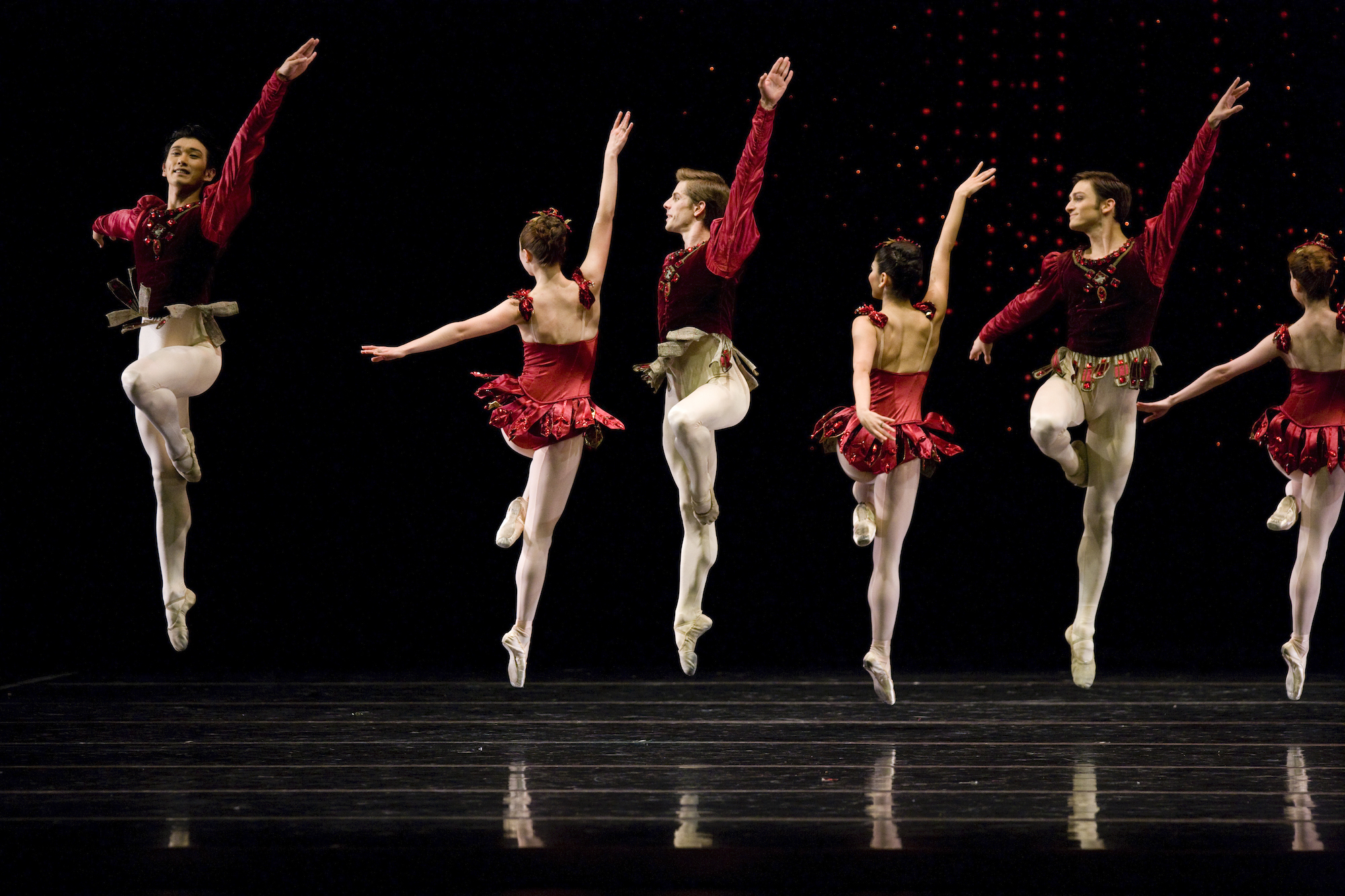 San Francisco Ballet in Balanchine's Rubies. (Choreography by George Balanchine © The Balanchine Trust; Photo © Erik Tomasson)