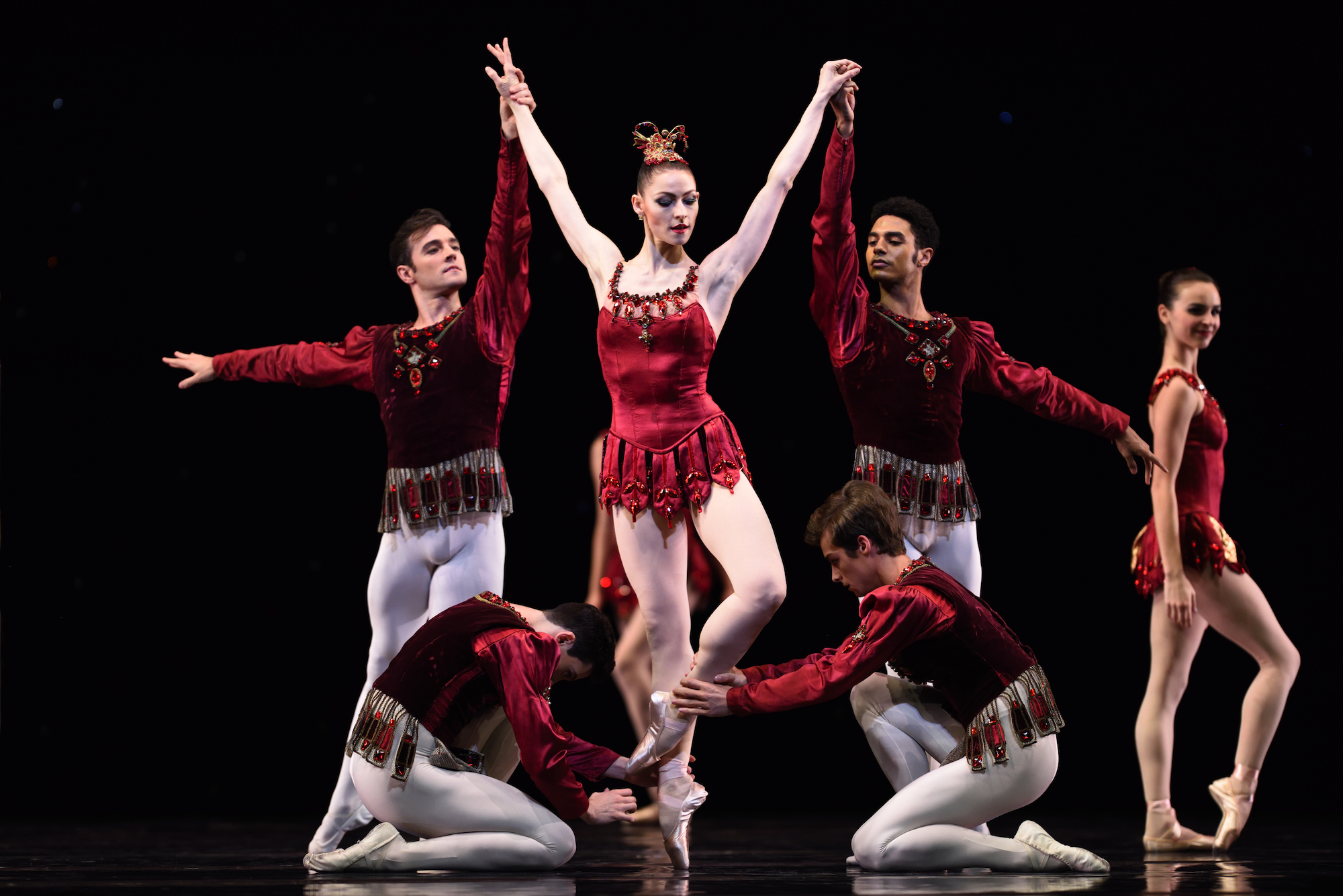 Sofiane Sylve in Balanchine's Rubies. (Choreography by George Balanchine © The Balanchine Trust; Photo © Erik Tomasson)