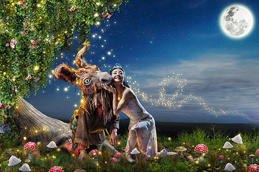 Yuan Yuan Tan and Alexandre Cagnat as Titania and Donkey in Balanchine's A Midsummer Night's Dream // Choreography by George Balanchine © The Balanchine Trust // Photo © Erik Tomasson // Illustration rendering by Sky Alsgaard