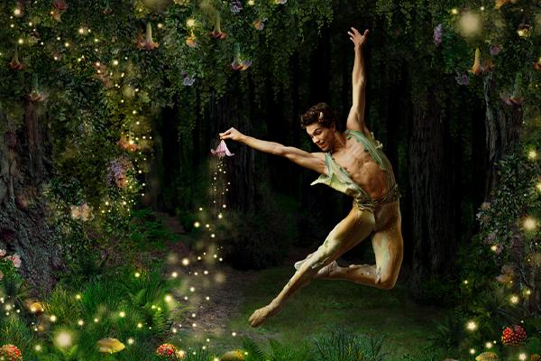 Esteban Hernandez as Puck in Balanchine's A Midsummer Night's Dream // Choreography by George Balanchine © The Balanchine Trust // © Erik Tomasson // Illustration rendering by Sky Alsgaard