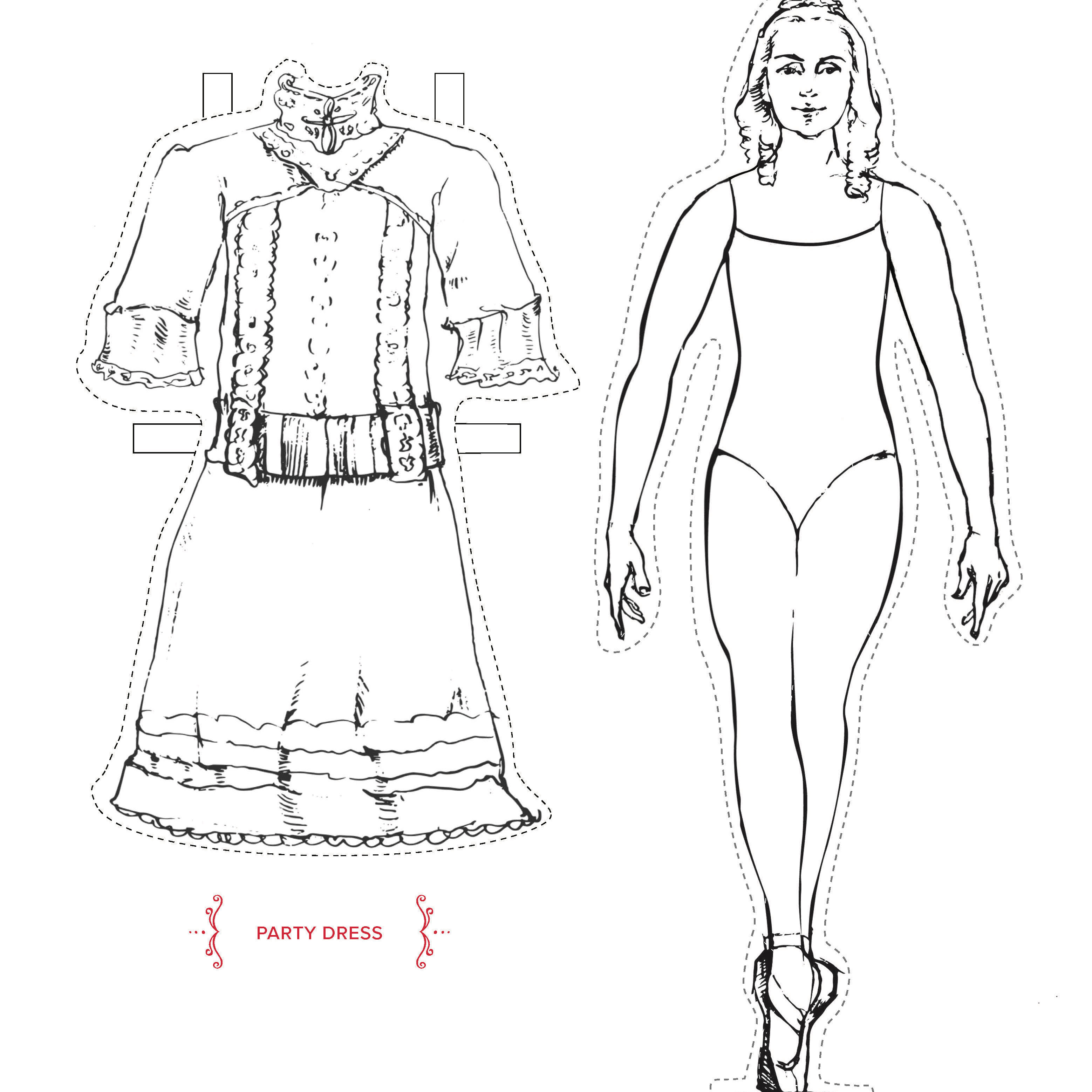 Paper doll for San Francisco Ballet's Nutcracker. Costume design by Martin Pakledinaz. Sketch by Francis Zhou.