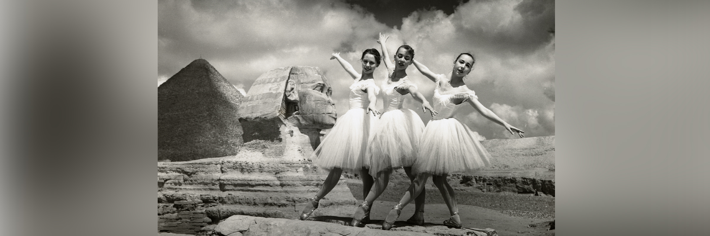 Louise Lawler, Constance Coler, and Sue Loyd near the Sphinx in Giza, Egypt as part of San Francisco Ballet's 1959 Middle East Tour