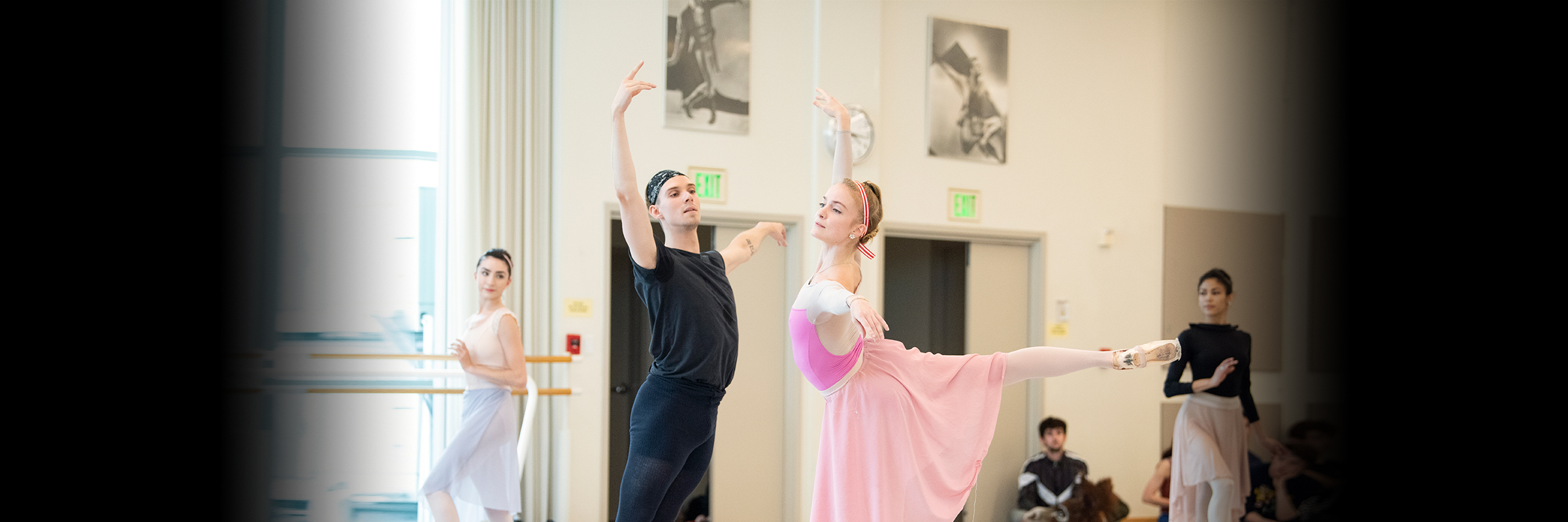 Two dancers in A Midsummer Night's Dream rehearsal.