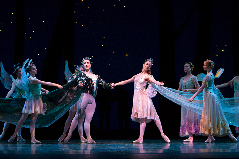 Pacific Northwest Ballet's Lesley Rausch and Benjamin Griffiths with company dancers in Balanchine's A Midsummer Night's Dream. (© Angela Sterling)