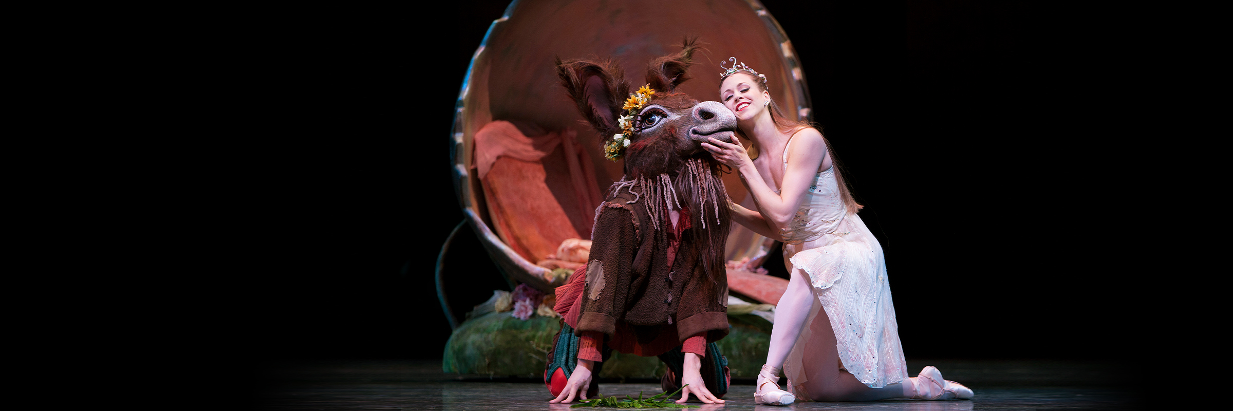 Pacific Northwest Ballet's Lesley Rausch and Ezra Thomson in Balanchine's A Midsummer Night's Dream. (© Angela Sterling)