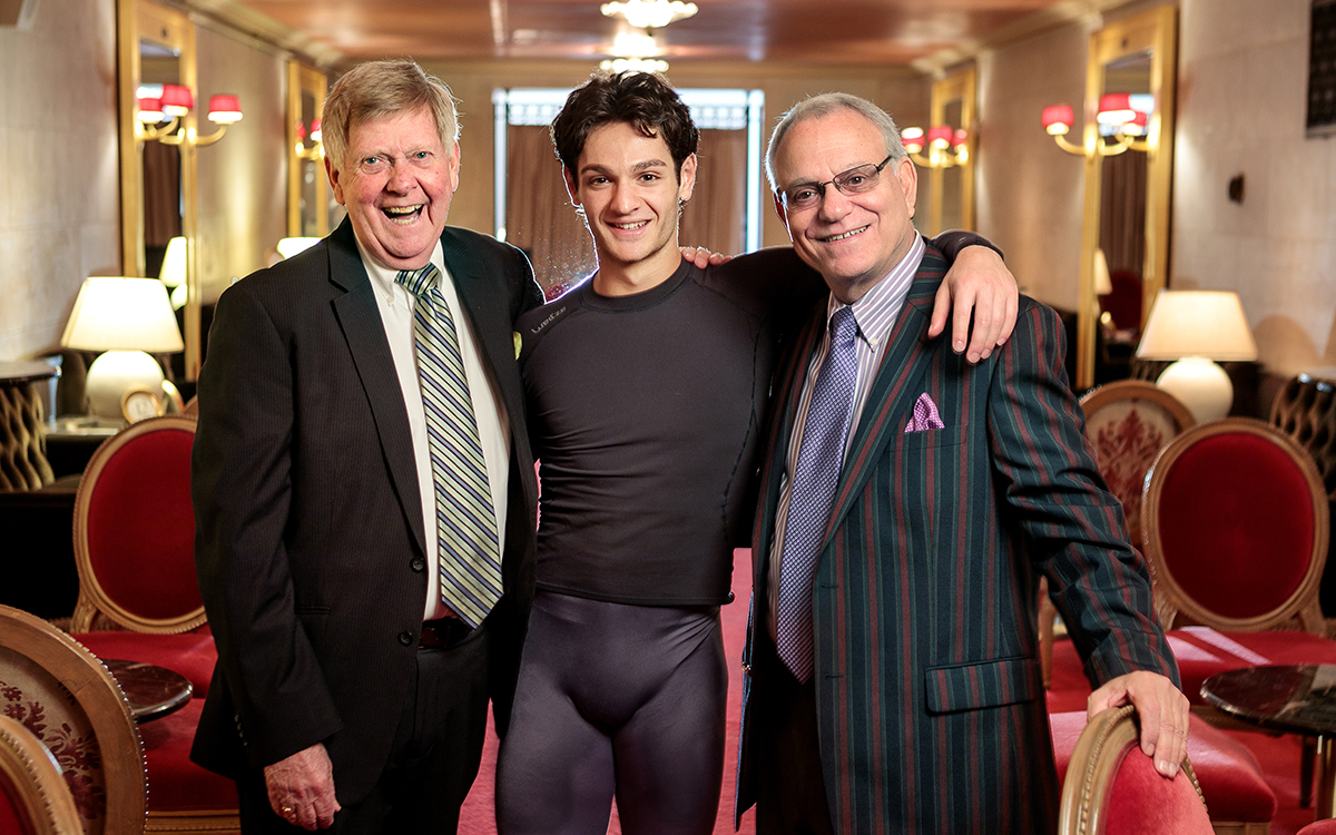 Tom Taffel and Bill Repp, two Ballet legacy members, and dancer Angelo Greco. (© Chris Hardy)