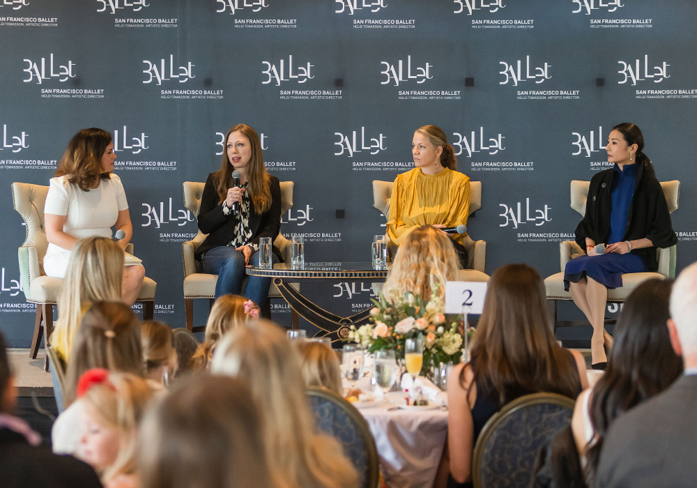 SAN FRANCISCO, CA - March 2 - Marissa Lagos, Chelsea Clinton, Alexandra Boiger and Yuan Yuan Tan attend She Persisted: SF Ballet Breakfast Celebrating Women's History Month 2019 on March 2nd 2019 at Fairmont Hotel in San Francisco, CA (Photo - Arthur Kobin for Drew Altizer Photography)
