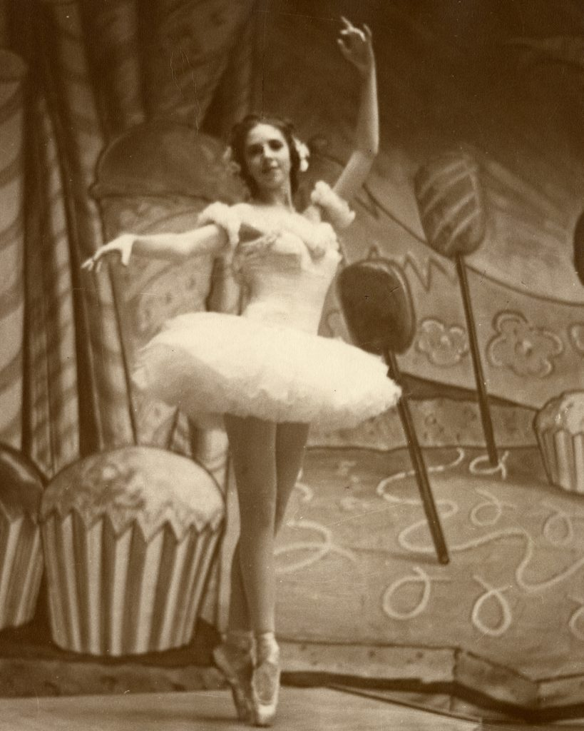 "Celina Cummings as the Rose from Waltz of the Flowers in Willam Christensen's ""Nutcracker,"" 1944."