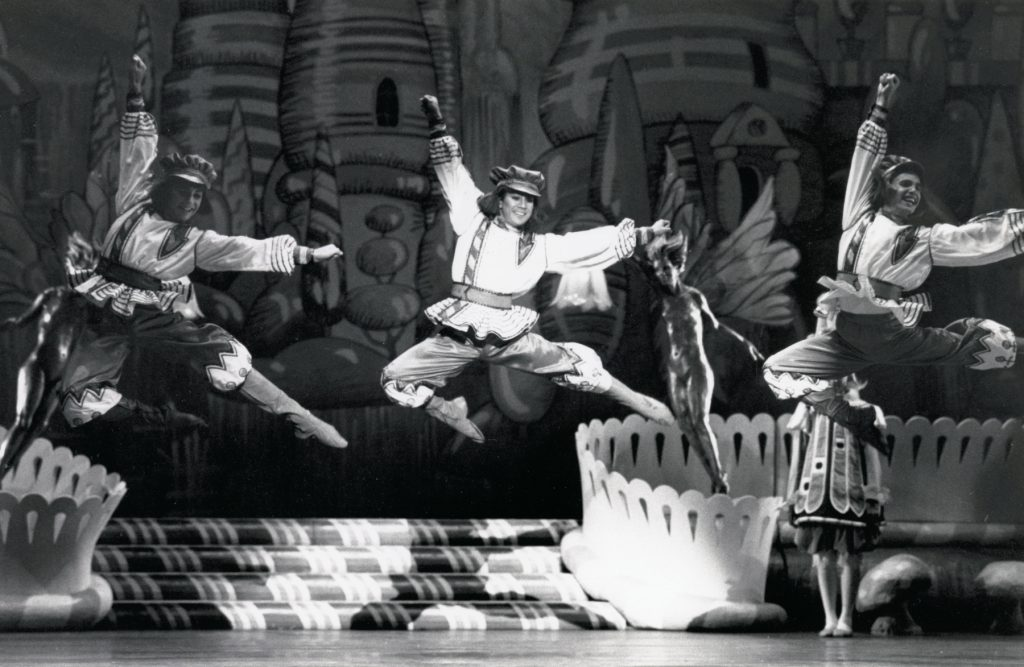 Gregory Russell, Andre Reyes, and Christopher Anderson as Russian Cossacks in Lew Christensen's Nutcracker, 1986. (© Marty Sohl. Photo courtesy of SFMPD.)